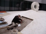 working in Isamu Noguchi's marble sculpture court at the Beinecke Library